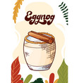 eggnog cup hot drink for christmas menu vector image vector image