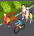 family outdoor isometric composition vector image vector image