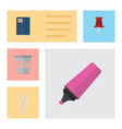 flat icon stationery set of fastener page vector image vector image