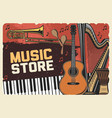 folk music instruments store retro poster vector image vector image