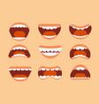 funny cartoon human mouth teeth and tongue vector image vector image