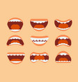 funny cartoon human mouth teeth and tongue with vector image vector image