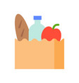 grocery bag food and gastronomy set flat icon vector image