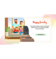 happy family web page cartoon template vector image vector image