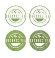 leaves organic tea labels set vector image vector image