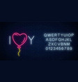 love you text with heart baloon in neon style vector image vector image