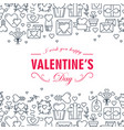 monochrome valentines day decorative card vector image