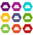 niagara falls icon set color hexahedron vector image vector image