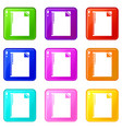 notebook icons set 9 color collection vector image vector image