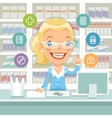 Pharmacist Woman Behind the Counter vector image vector image