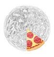 pizza from different slices top view isolated vector image vector image