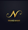 premium letter n logo design template with swirl vector image vector image