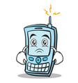 sad face phone character cartoon style vector image vector image