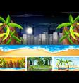 set different nature horizontal scenes vector image vector image