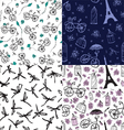 set of seamless patterns with flowers and bicycles vector image