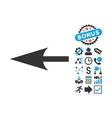 Sharp Left Arrow Flat Icon with Bonus vector image vector image