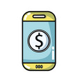 smartphone technology with money app icon vector image