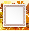 square frame on autumn leaves background vector image