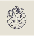 summer island line art icon with tropical beach vector image vector image