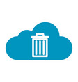 thin line cloud recycle bin icon vector image vector image