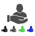 user support hand flat icon vector image vector image