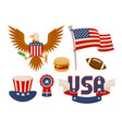 various american symbols set vector image vector image