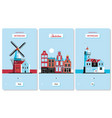 welcome to netherlands greeting souvenir cards vector image
