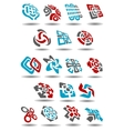 Abstract icons with arrows map pointers mazes vector image
