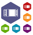 accordion icons set vector image vector image