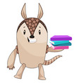 Armadillo holding books on white background