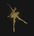 ballet dancer girl silhouette gold glitter splash vector image