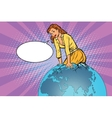 Beautiful woman emerge from the planet Earth vector image vector image