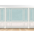 Blue wall with pilasters and white panel vector image vector image