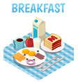 breakfast isometric composition vector image vector image