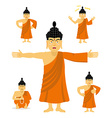 Buddha set of movements Indian god set of poses vector image