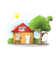 Cartoon house in a warm summer day vector image