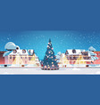 city street with decorated fir tree merry vector image vector image