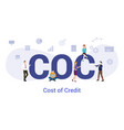 coc cost credit concept with big word or text vector image vector image