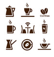coffee brown set vector image vector image