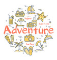 colorful icons in summer adventure theme vector image vector image