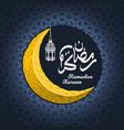 crescent moon with ramadan kareem and lantern vector image vector image