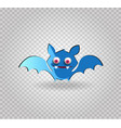 cute funny blue cartoon bat on transparent vector image