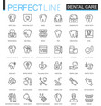dental care thin line web icons set outline vector image
