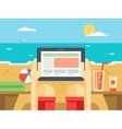 Digital tablet on beach vector image vector image