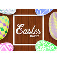 easter eggs on a wooden table vector image vector image