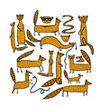 funny mongooses sketch for your design vector image vector image