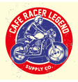 grunge style of cafe racer badge vector image vector image