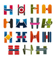 h letter icons template company brand name vector image