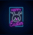 happy easter glowing signboard with bunny and vector image