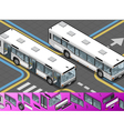 Isometric Bus with Opened Doors vector image